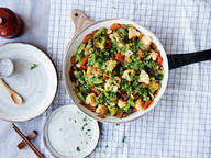 Vegetable stir-fry with ginger-lime sauce