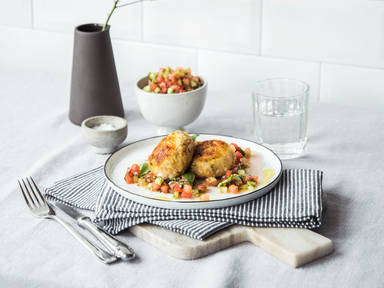 Fish cakes with watermelon salsa