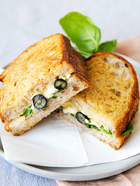 Grilled blueberry and Camembert sandwich