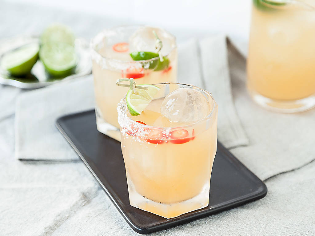 Spicy mezcal margaritas