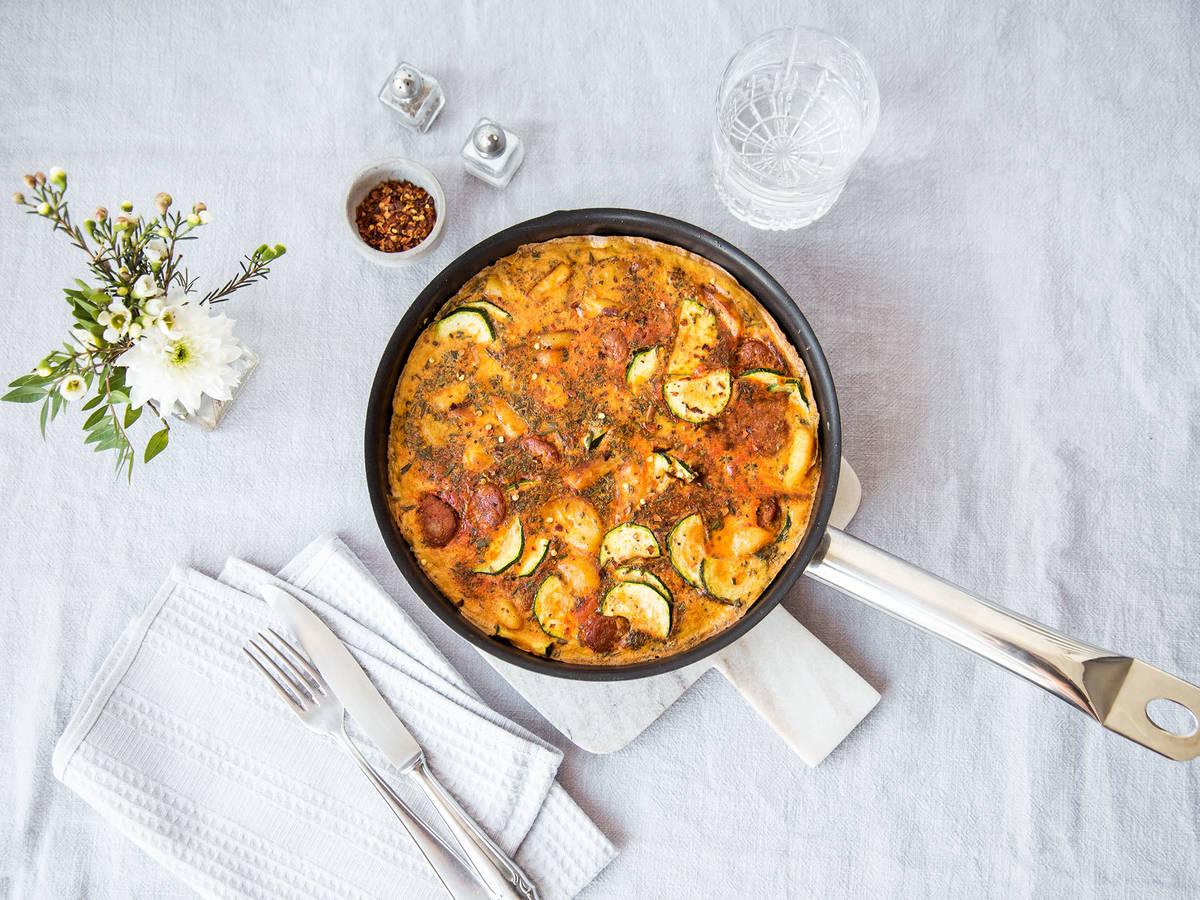 Chorizo and new potato frittata