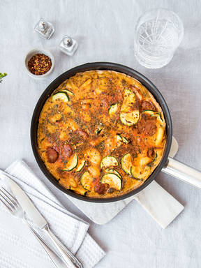 Chorizo and new potato frittata