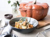 Pumpkin risotto with chanterelles and hazelnuts