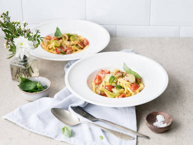 Tagliatelle with pancetta, leek, and tomato