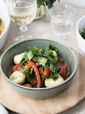 Mozzarella stuffed gnocchi with tomato confit