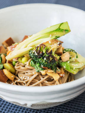 Soba noodles with miso-marinated tofu and vegetables