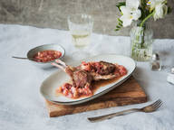 Lamb chops with rhubarb chutney