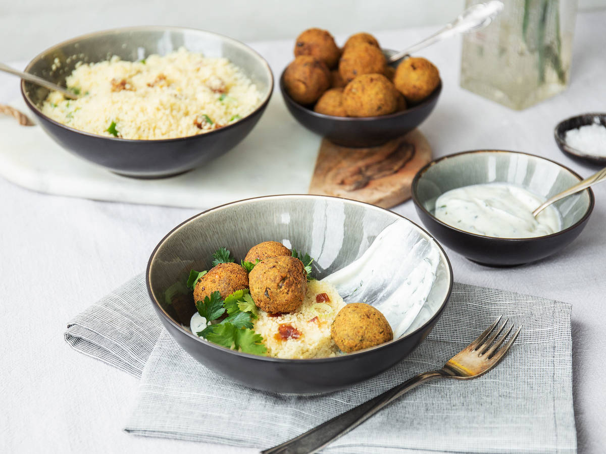 Green pea falafel with lemon couscous and minty yogurt