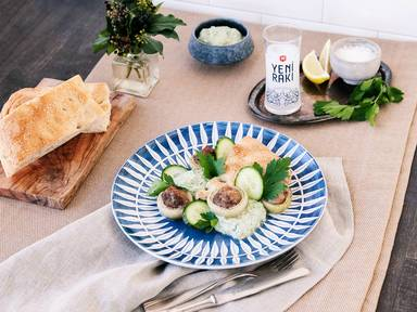Meatballs with cucumber yogurt dip