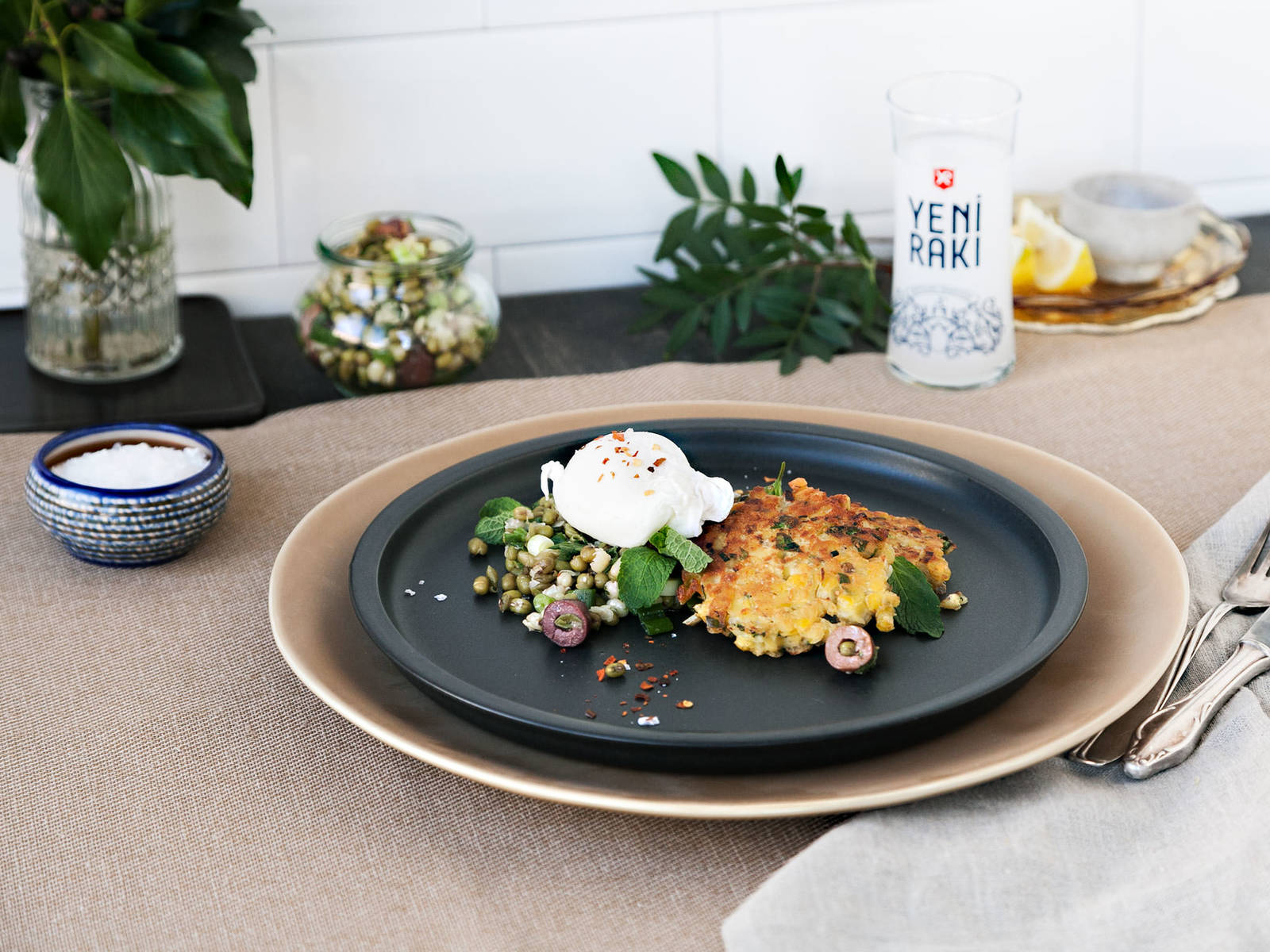 Lentil cakes with poached egg and mung bean salad