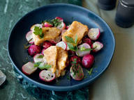 Roasted radishes with fried camembert