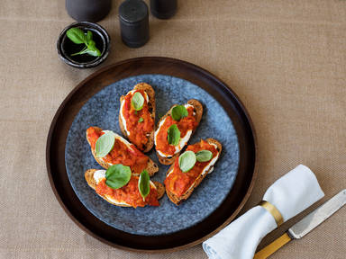 Peperonata and ricotta crostini