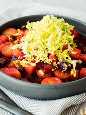 Watermelon-beet salad with cherry tomatoes