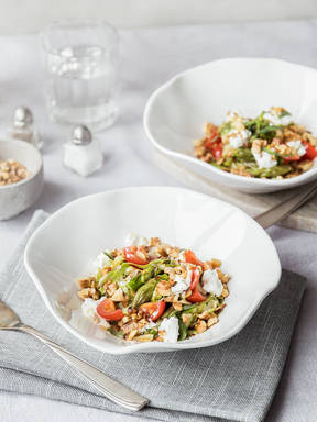 Shaved asparagus salad with goat cheese