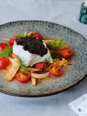 Cod with olive tapenade and sautéed fennel-tomato salad