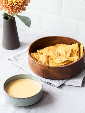 DIY tortilla chips with jalapeño-cheddar cheese dip