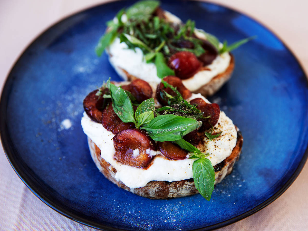 Whipped ricotta and balsamic cherry toast