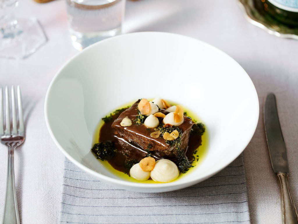 Braised ox cheeks with celery purée and gremolata