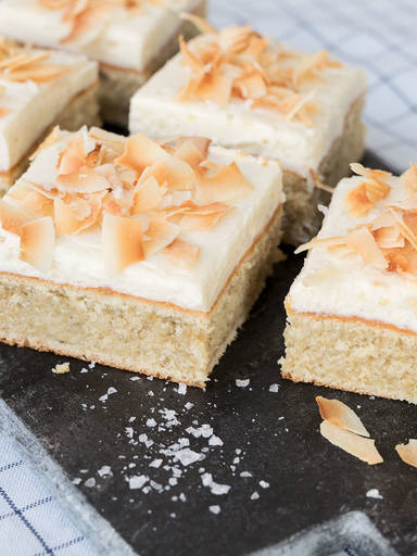 Chamomile sheet cake with salted coconut frosting