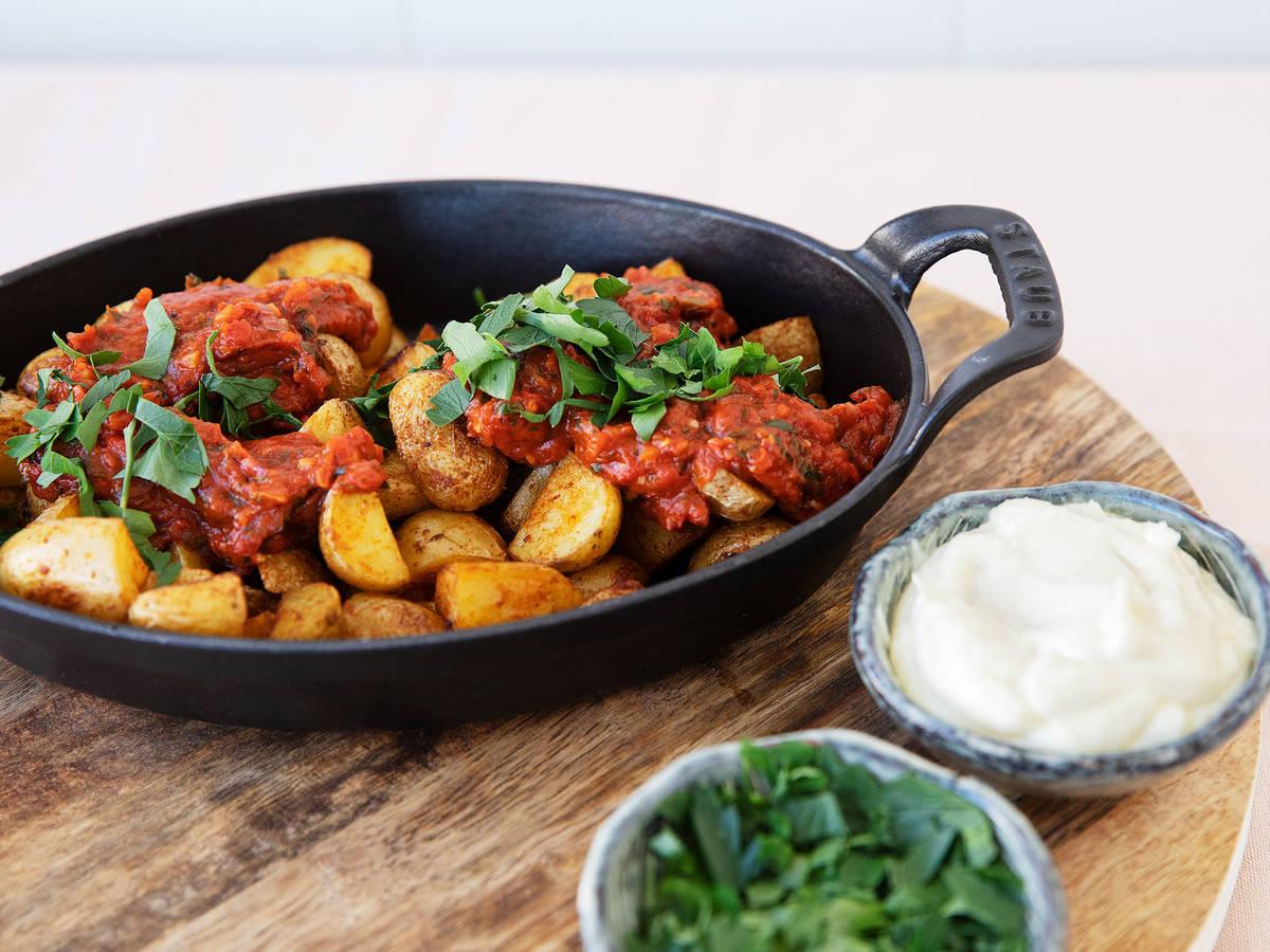 Spanish roasted potatoes with salsa brava