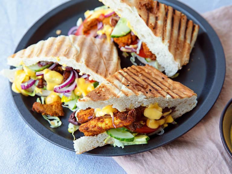 Chicken shawarma sandwich with mango dressing