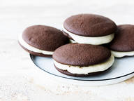 Chocolate whoopie pies with salted Swiss buttercream
