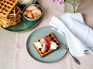 Belgian buttermilk waffles with caramelized peaches and mascarpone