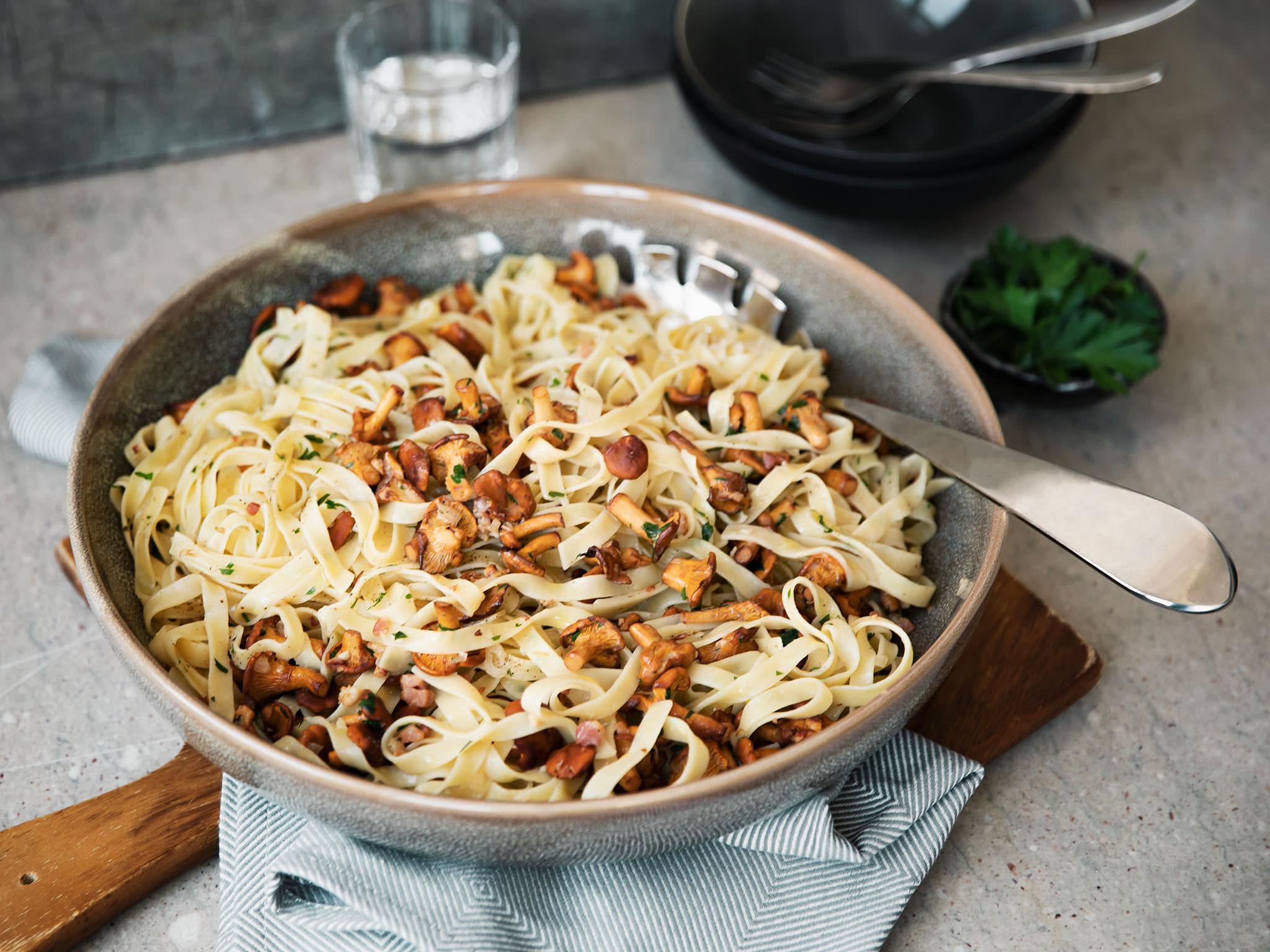 Tagliatelle with creamy chanterelle mushroom-bacon sauce | Recipe