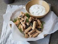 Eggplant fries with limey dill dip