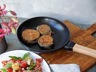 Eggplant cordon bleu with tomato and bread salad