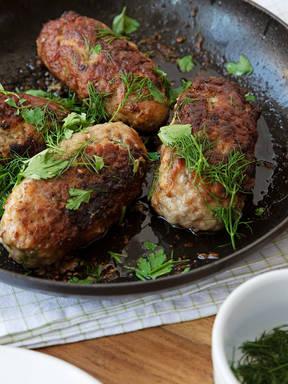 Mushroom-stuffed beef and pork roulades