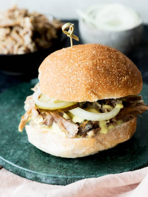 Honey-mustard pulled pork sliders