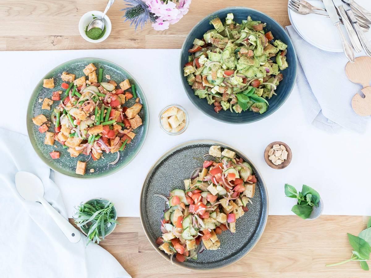 Panzanella salad, dressed 3 ways