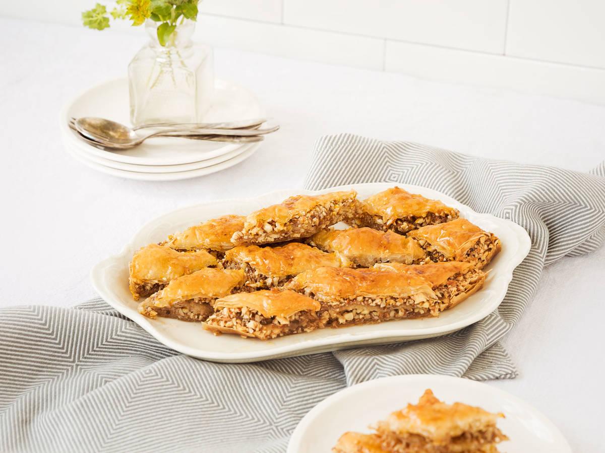 Honeyed almond baklava