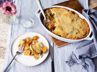 Pumpkin-spinach gratin with crispy Parmesan crust