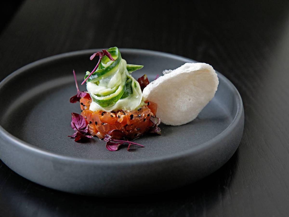 Tuna tartare with wasabi, cucumber, and prawn crackers