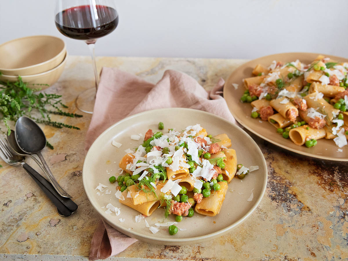 Pasta with Italian sausage, fennel, and peas