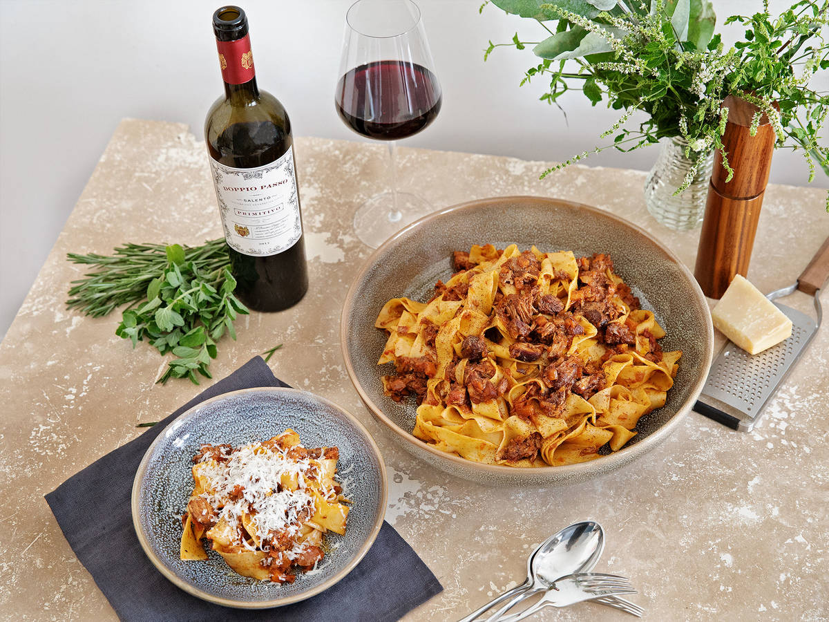 Pork and red wine ragu with pappardelle