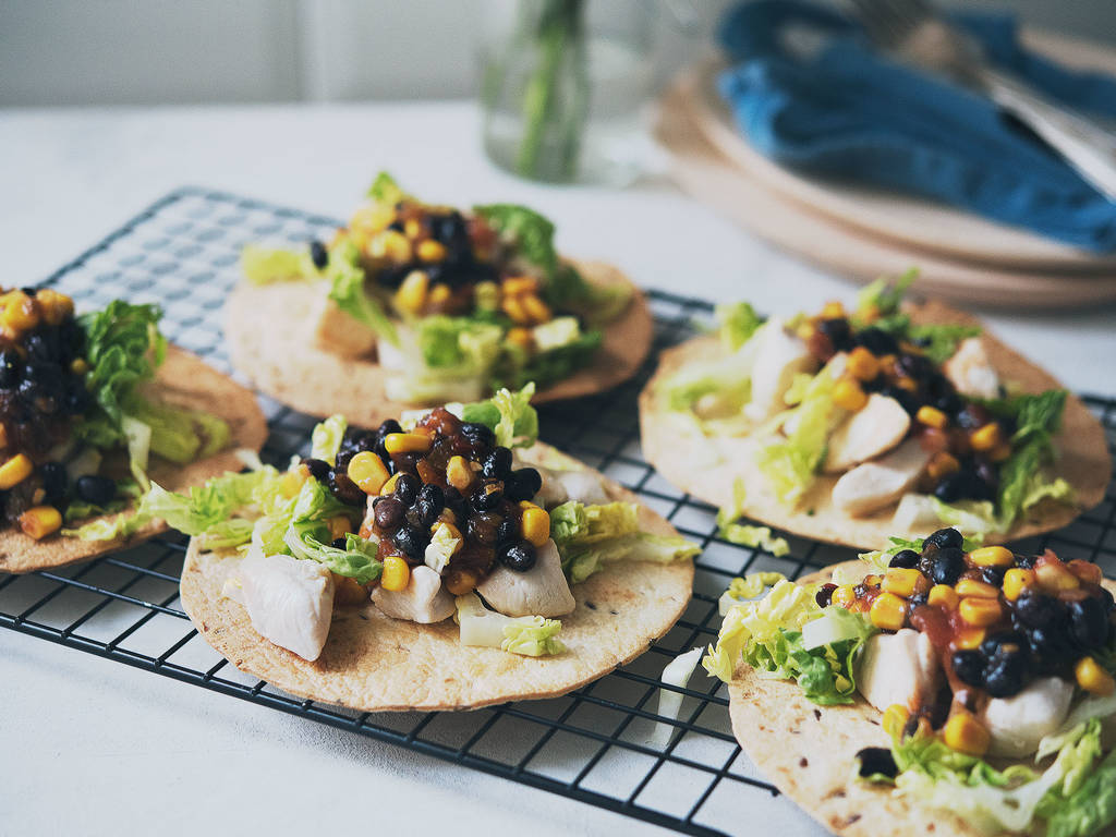 Chicken salad tostadas