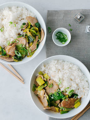 Pork and leek stir-fry
