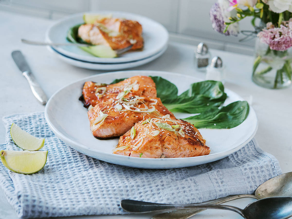Sriracha lime-glazed salmon