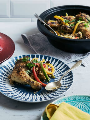 Braised chicken with couscous