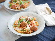 Pasta with mini meatballs