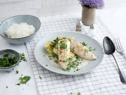 Poached coconut chicken with bok choy