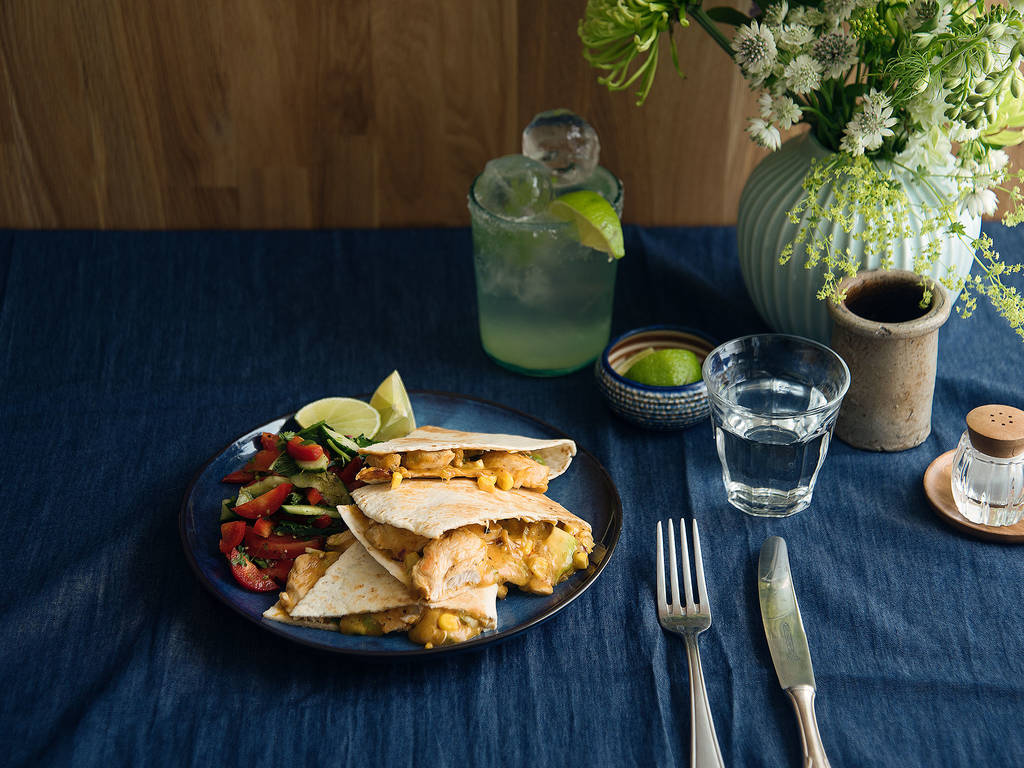 Chicken and cheddar quesadillas with salad