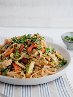 Asian-spiced chicken and rice noodle salad