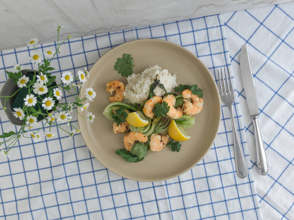 Shrimp with baby bok choy and coconut rice