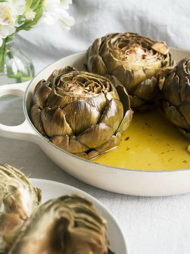 Italian-style roasted artichokes