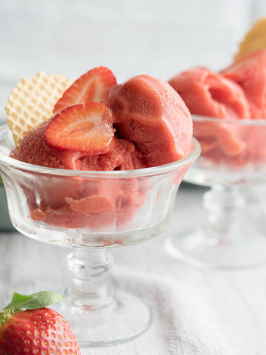 No-churn strawberry sorbet