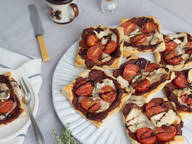 Cherry tomato and goat cheese tartlets with balsamic glaze